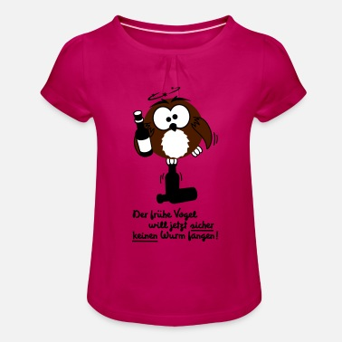 Owl, early bird, funny, worm - Girls' Ruffle T-Shirt