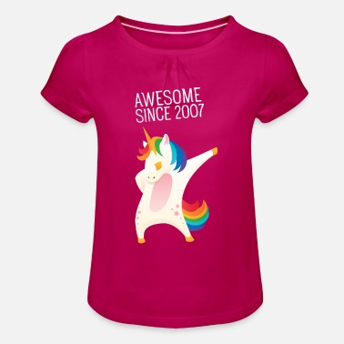 Awesome Since Awesome Since 2007 - Dabbing Unicorn - Maglietta con arricciatura bambina