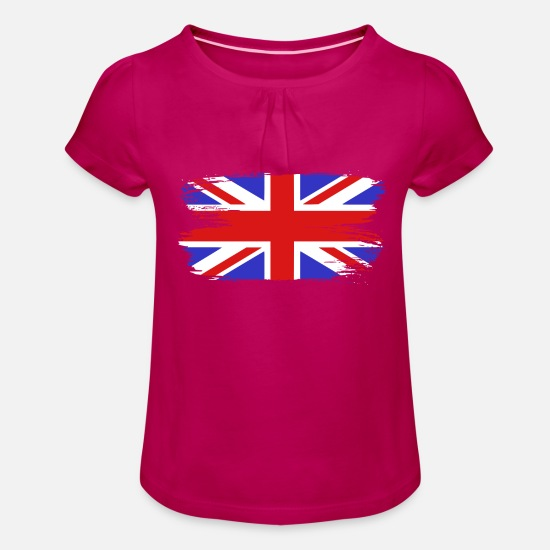 Paint Brush T-Shirts - Flag England GB United Kingdom - Girls' Ruffle T-Shirt fuchsia