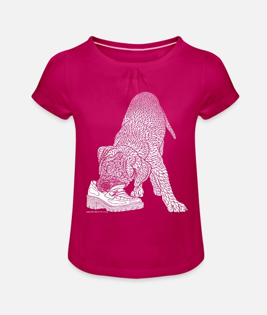 Drawing T-Shirts - Dogue de Bordeaux - white - Girls' Ruffle T-Shirt fuchsia