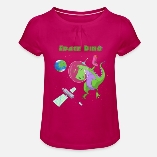 Dinosaur T-Shirts - Boys & Girls Space Dinosaur T-shirt - Girls' Ruffle T-Shirt fuchsia