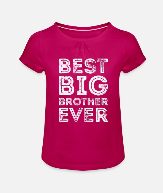 Big T-shirts - Bäst storebror någonsin Best Big Brother Shirt - T-shirt med rynkning flicka fuchsia