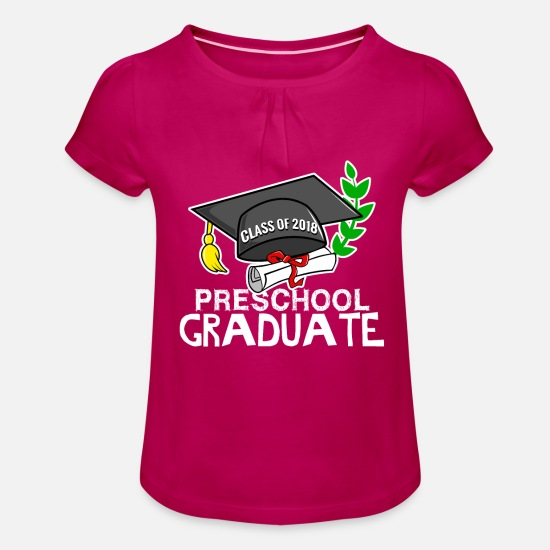 Graduation T-Shirts - Preschool Graduate - class of 2018 - Girls' Ruffle T-Shirt fuchsia