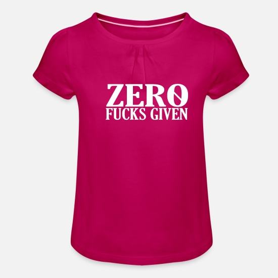 Gift Idea T-Shirts - Zero fucks given - Girls' Ruffle T-Shirt fuchsia