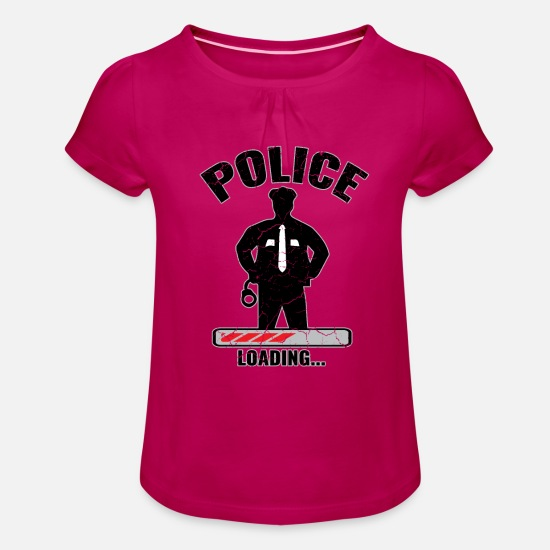 Gift Idea T-Shirts - Police Loading Used Look - Girls' Ruffle T-Shirt fuchsia