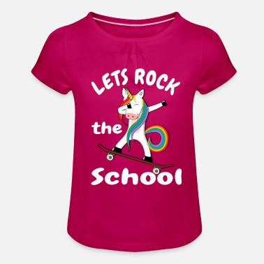 School Girls Lets rock the school unicorn schoolchild skateboard - Girls' Ruffle T-Shirt