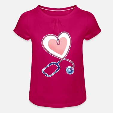 Stethoscope with heart Valentines day and romance - Girls' Ruffle T-Shirt