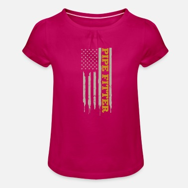 Brazing Pipefitter Patriotic US American Flag Gift - Girls' Ruffle T-Shirt