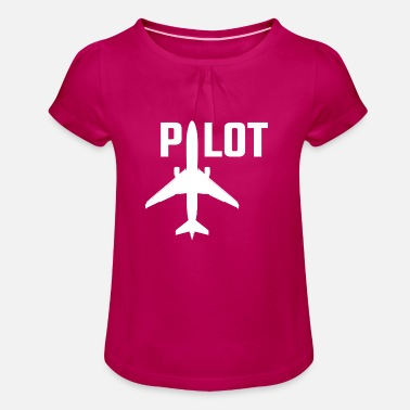 Pilot airplane flying aviation gift idea - Girls' Ruffle T-Shirt