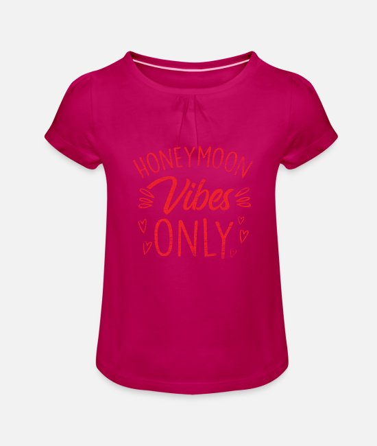 Engagement T-Shirts - honeymoon - Girls' Ruffle T-Shirt fuchsia