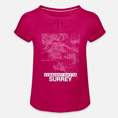 Surrey Straight Outta Surrey city map and streets - Girls' Ruffle T-Shirt