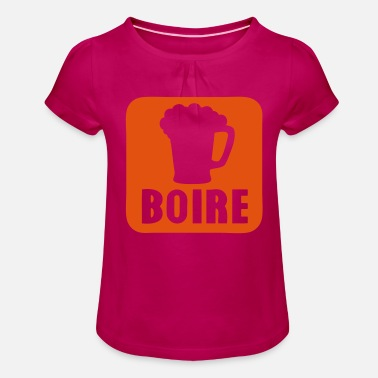 Alcoholic Beverage drinking alcohol beer beverage icon 109 - Girls' Ruffle T-Shirt