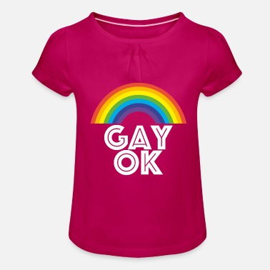Rainbow Gay ok gay is okay rainbow rainbow love - Girls' Ruffle T-Shirt