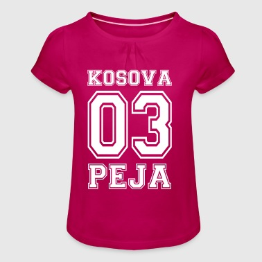 kosovo shirt peja with 03 albanian shirt - Girl's T-shirt with Ruffles