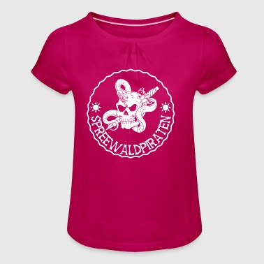 Spreewald Pirate Logo - Girl's T-shirt with Ruffles