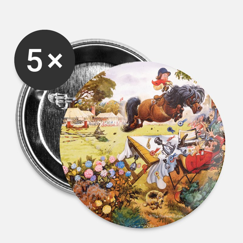 Bestsellers Q4 2018 Badges - PoneyTurnoi Thelwell Dessin - Petits badges blanc