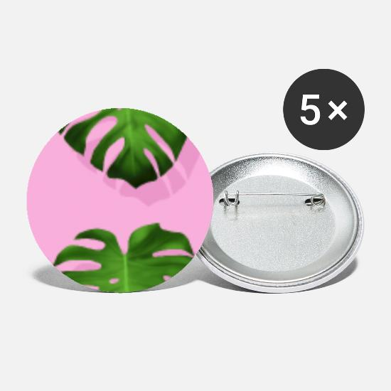 Floral Buttons - Pink Monstera Tropical Leaf - Small Buttons white