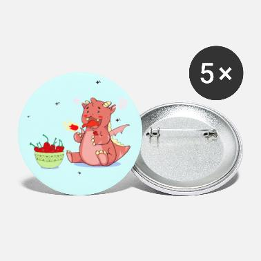 Cute Fire-Breathing Dragon Eating Hot Chillis - Small Buttons