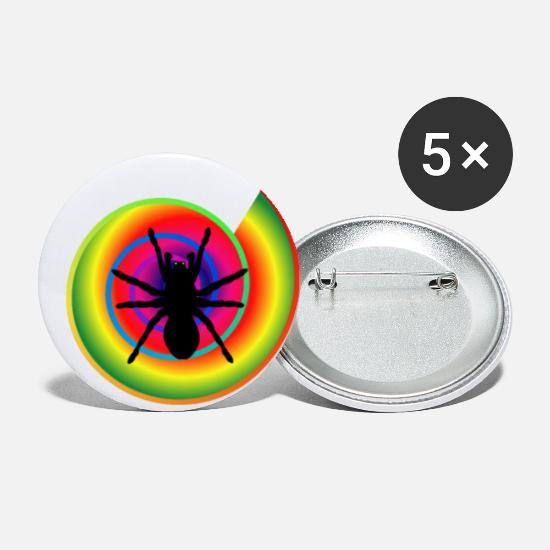 Rainbow Buttons - Spider as a power animal - protection against dark forces - Small Buttons white
