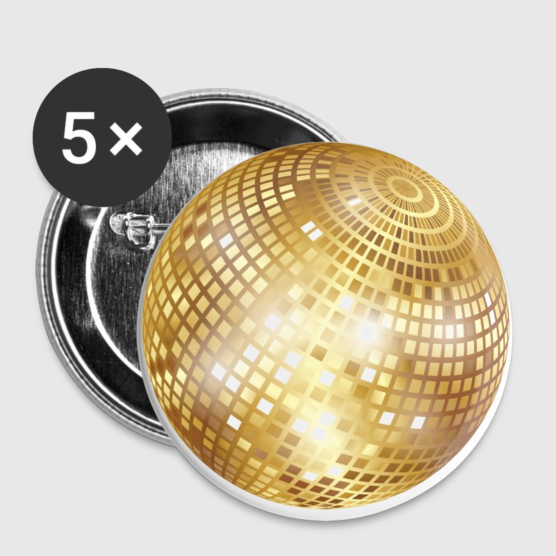 Diskokugel / Spiegelkugel / Disco Ball (Gold, PNG) - Buttons small 25 mm