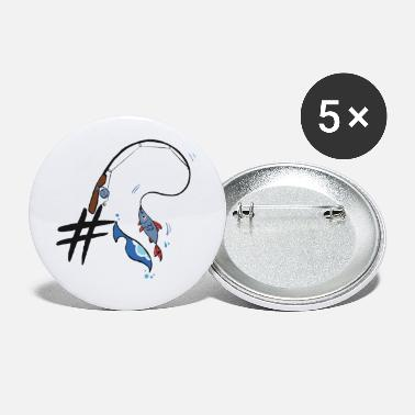 Fisher # Hashtag fishing gift sea lake fish fisher - Small Buttons
