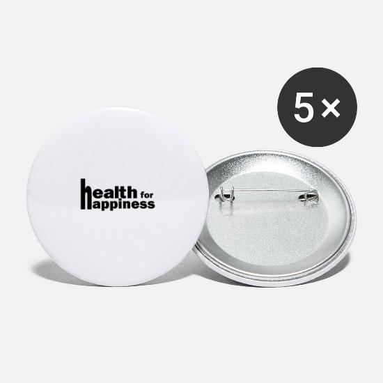 Fitness Buttons - health for happiness - Small Buttons white
