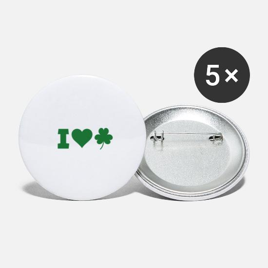 St Buttons - St. Patrick's Day Shamrock Heart Gift Paddy - Small Buttons white