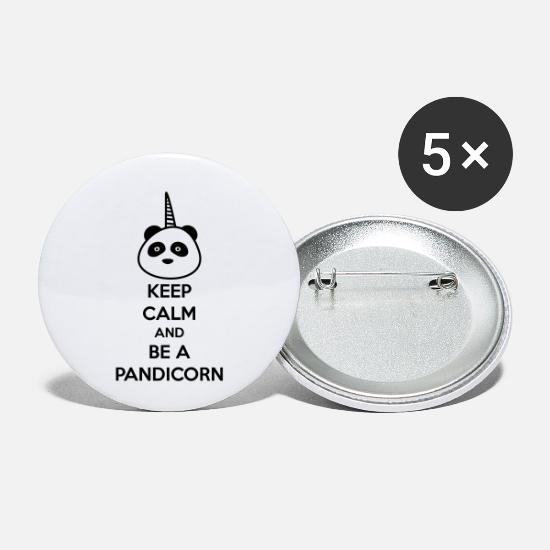 Keep Calm Buttons & Anstecker - KEEP CALM BE A PANDICORN - Panda - Einhorn - Buttons klein Weiß