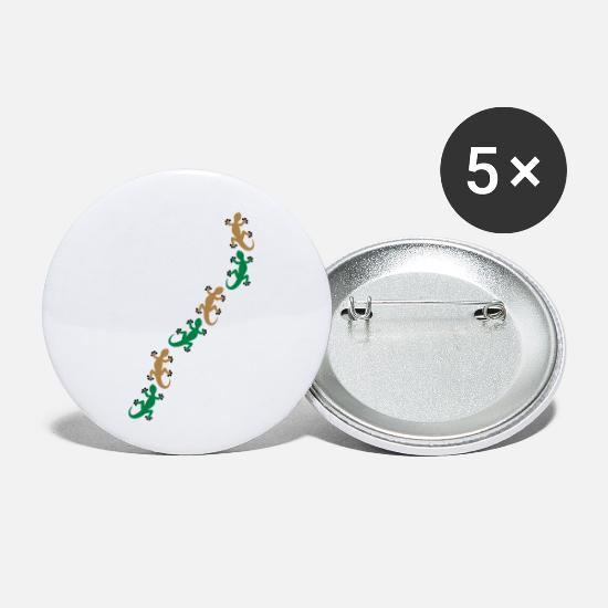 Mountains Buttons - Six geckos - Small Buttons white