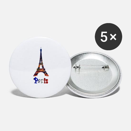 Travel Buttons - Paris at night - Small Buttons white