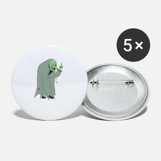 Gift Idea Buttons - Ugly monster with a cloak of robe - Small Buttons white