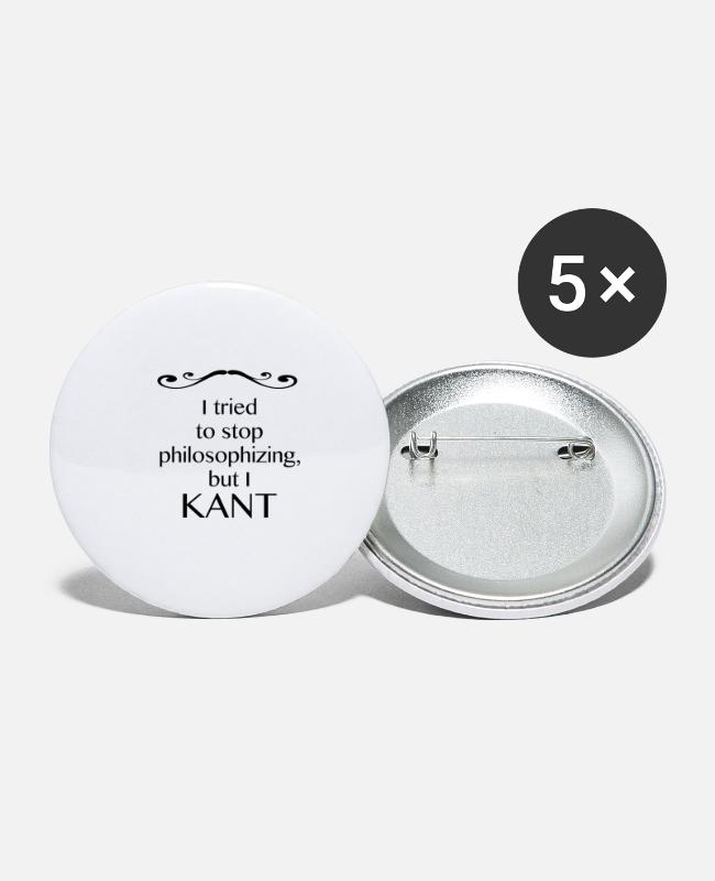 Gift Buttons - The Pussian Immanuel Kant: Philosophy Shirt - Buttons klein wit