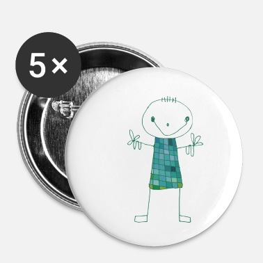 Getekend Poppetje Emerald Alfred - Buttons klein 25 mm (5-pack)