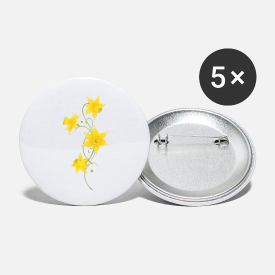 Daffodil Buttons - Filigree Daffodils Flowers. Spring, Easter. - Small Buttons white