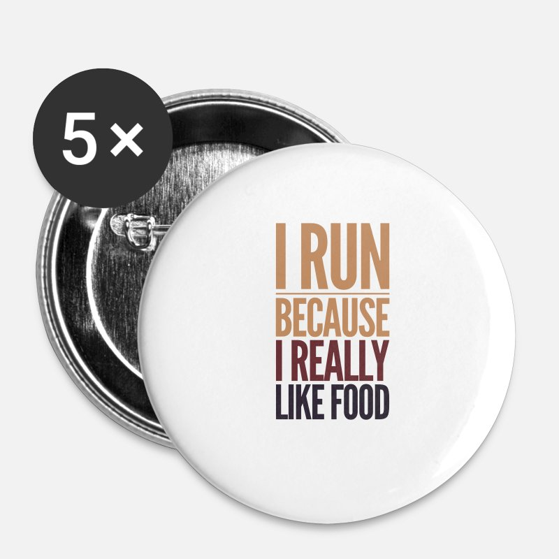 Hardlopers Spullen Buttons - runners like food - Buttons klein wit
