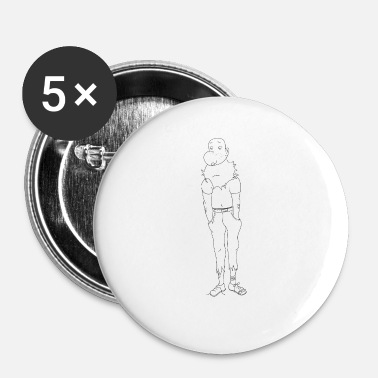 Triest triest karakter - Buttons klein 25 mm (5-pack)