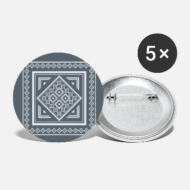 Diamonds Modern Tribal Geometric Square Pattern in - Small Buttons