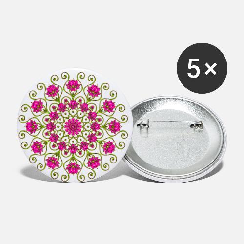 Lotusblume Lotusblüte Lotus Mandala Yoga Zeichen Buttons Klein