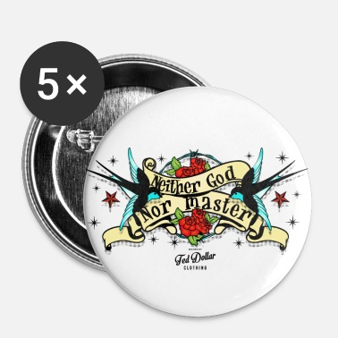 Rockabilly Neither god nor master - Badge petit 25 mm