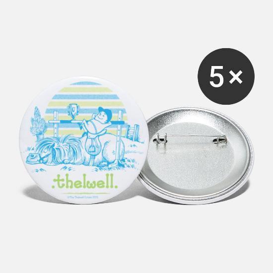 Officialbrands Buttons - PonyVictory Thelwell Cartoon - Small Buttons white