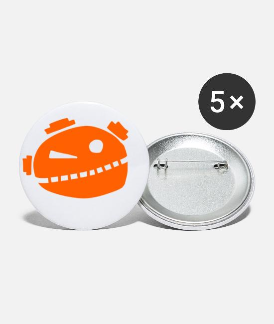 Infection Buttons - Robo alien orange - Small Buttons white