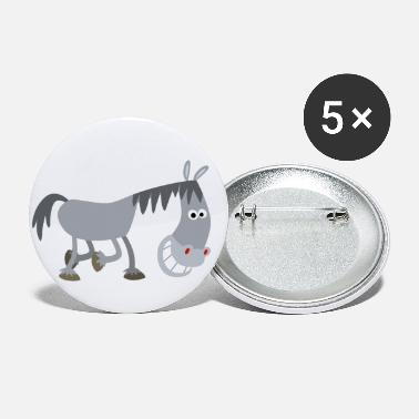 Sniggering Cartoon Horse by Cheerful Madness!! - Small Buttons