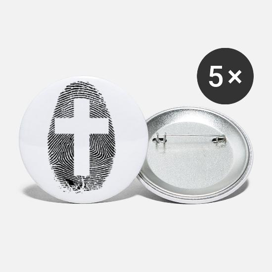 I Love Jesus Buttons & Anstecker - FINGERPRINT CROSS Fingerabdruck mit Kreuz JC Shirt - Buttons klein Weiß