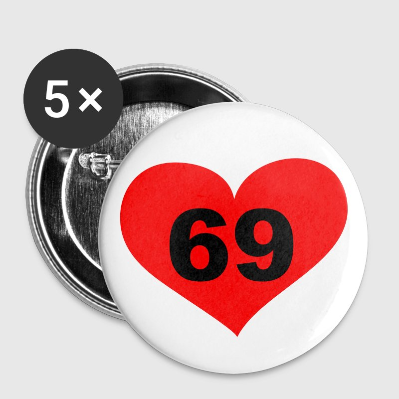 69 Love, Liebe, Heart, 69, Herz, Sex, Hot, Heiss, Pervers, Singles, Saufen, Party - eushirt.com - Buttons small 25 mm