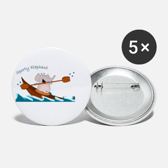 Animal Buttons - Sporty Elephant - enjoying kayaking - Small Buttons white