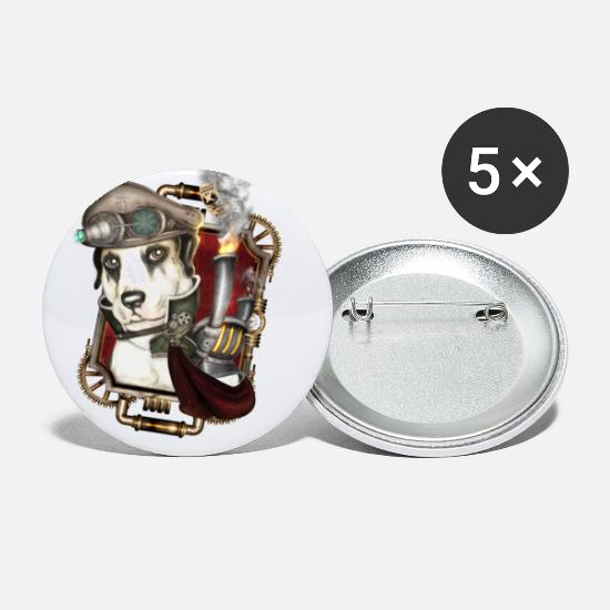 Cyber Buttons - Steampunk Dog # 1 - Small Buttons white