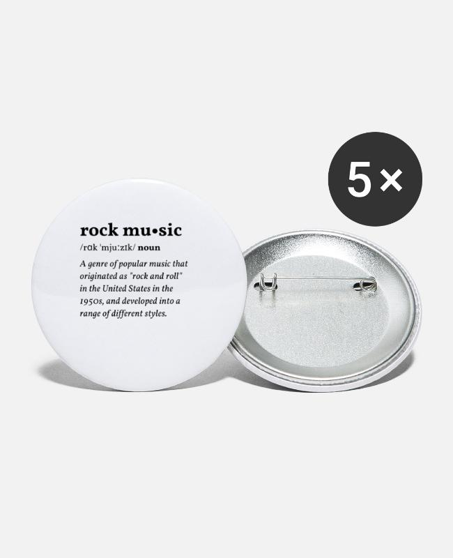 Dictionary Buttons - Rock Music (Rock Music) Clean Edition - Small Buttons white
