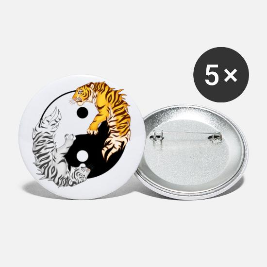 Big Cats Buttons - Yin & Yang Tigers - Small Buttons white