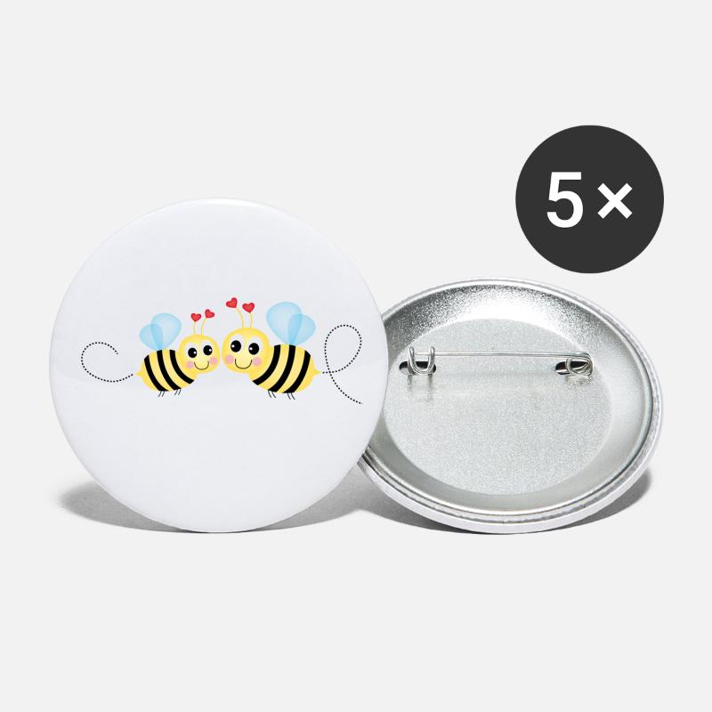 Love Buttons - Bee couple - Small Buttons white