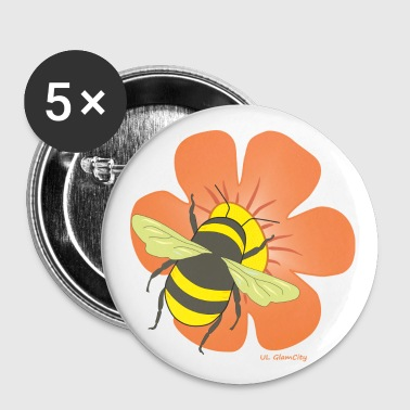 Bumblebee Flower with bumblebee - Buttons small 25 mm